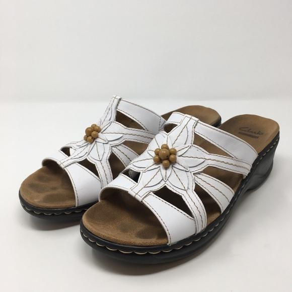 eb75ef68240 Clarks Shoes - Clarks Sandals Sz 8.5W Leather Slides Bead Detail